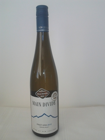 Main Divide Pinot Gris 2012, Waipara Valley, North Canterbury, New Zealand